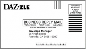 US business reply mail showing different barcode types