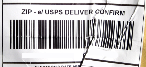 Faded and Wrinkled USPS label