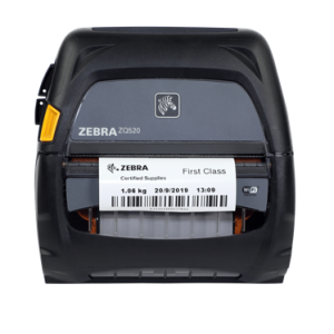 A Zebra mobile thermal printer printing a barcode label
