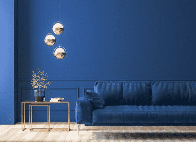 A predominantly blue living room