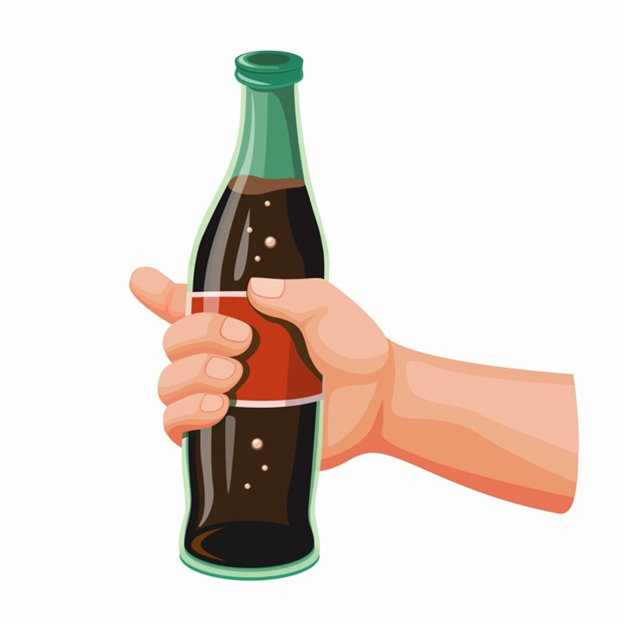 A red-labeled curvy bottle