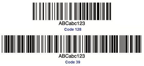 Code 128 or Code 39 format