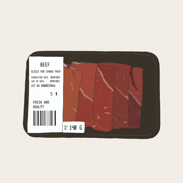 A labeled pack of frozen beef
