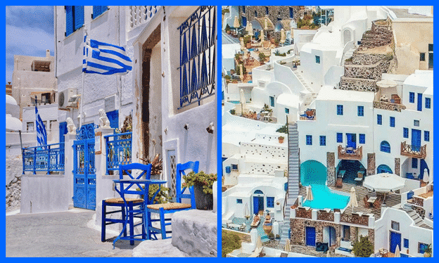Many Greek houses and tourist spots have blue and white façade