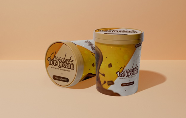 An ice cream bucket with paper freezer label