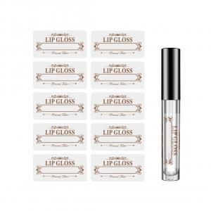 A sheet of clear BOPP lip gloss labels