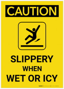 A caution label for icy steps