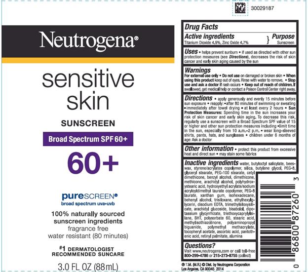 Neutrogena sunscreen lotion label