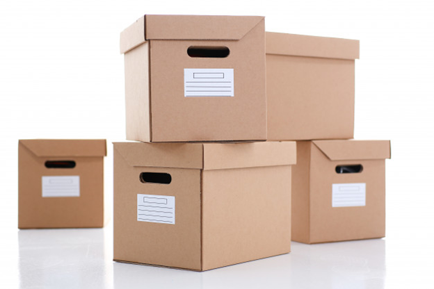 moving boxes with blank labels