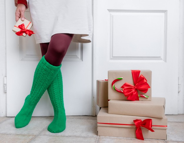 Christmas packages at the door