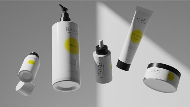 Skin moisturizers with yellow and gray labels