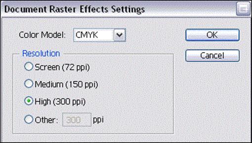 Illustrator's Document Raster Effects Settings window