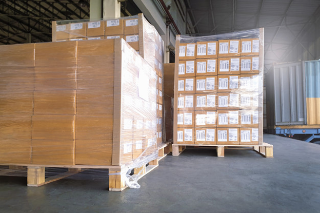 Labeled Pallets with Stretch Wrap