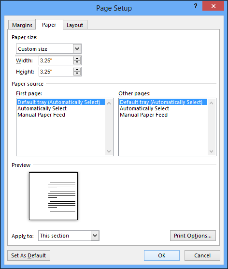 Customizing the paper size on MS Word