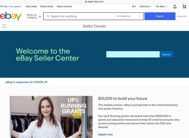 eBay Seller Center home page