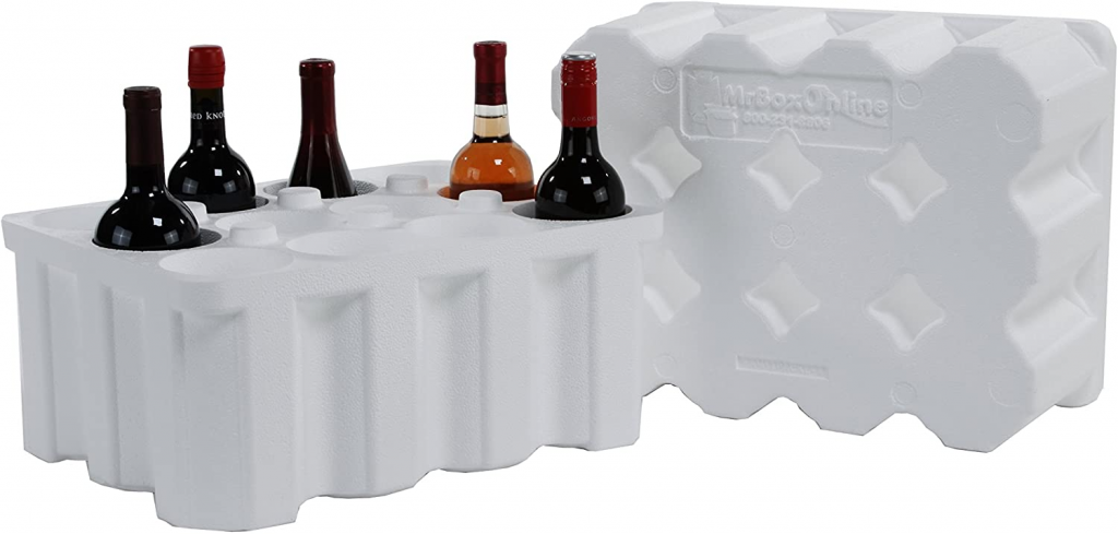 a styrofoam wine shipper