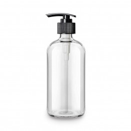 Glass Soap Dispenser Bottle with Stainless Steel Pump (16-Oz) – Clear Boston Round