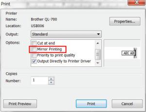 uncheck Mirror Printing