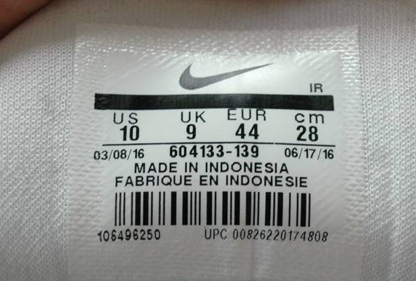 A Nike sneaker barcoded tag made of plastic