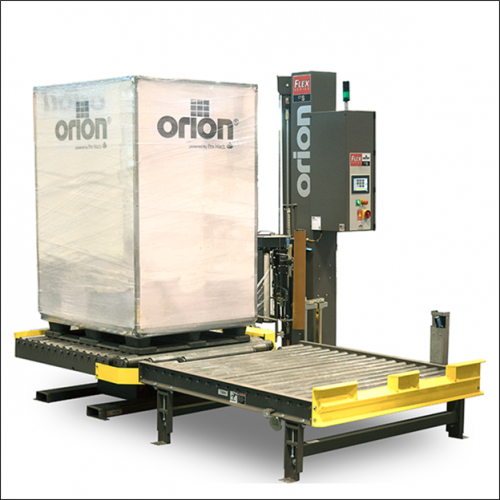 automatic conveyorized stretch wrapper at packaging lines