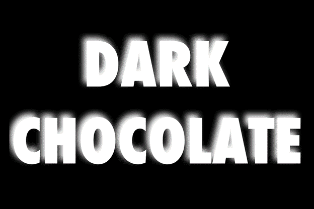 Blurred dark chocolate label