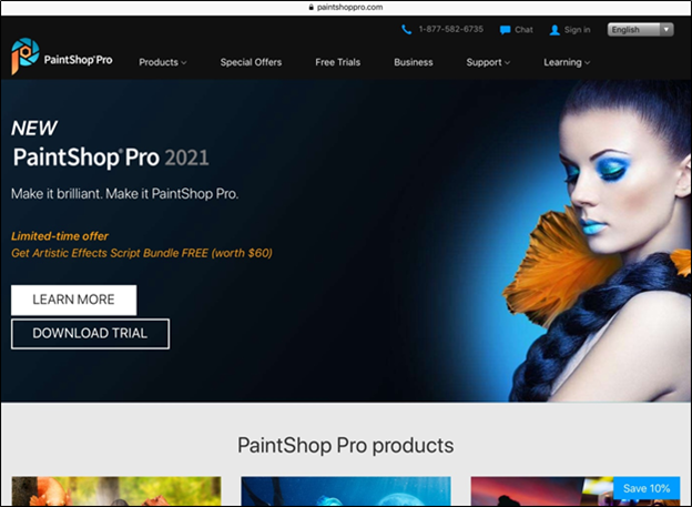 Corel PaintShop Pro raster and vector graphics editor