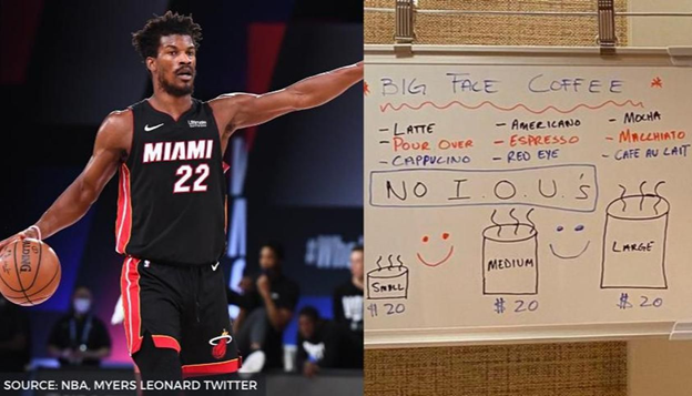Jimmy Butler and his Big Face Coffee sign board