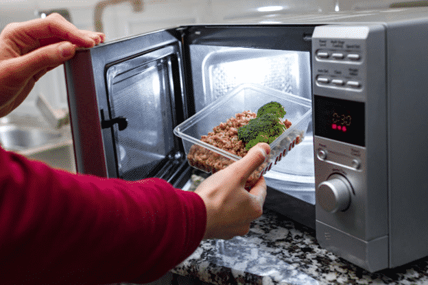Food packaged in a microwavable container does not need to be transferred before heating