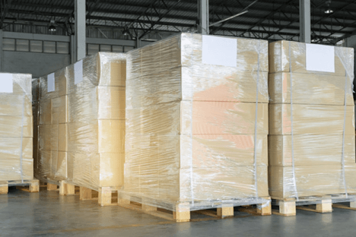 Pallets wrapped in stretch film