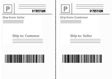 An outbound shipping label and its corresponding return label