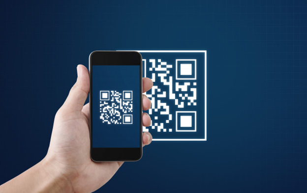 A QR code being scanned by a camera phone