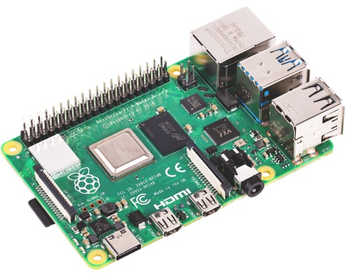 A Raspberry Pi 4 Motherboard