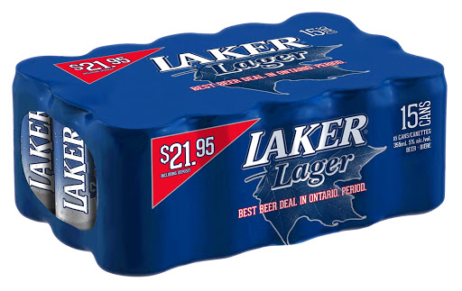 A Shrink-Wrapped 15-Can Pack of Laker Lager - Source: Laker Beer