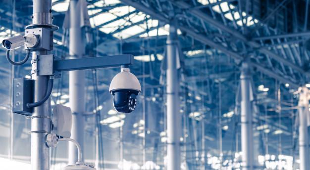 Surveillance cameras inside a factory
