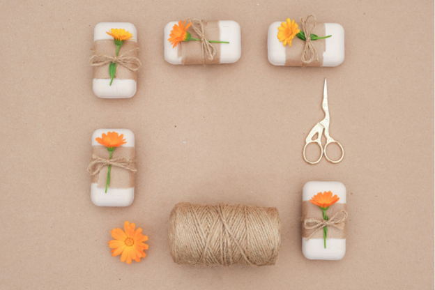 Fabric is a sustainable packaging type that can be used on soap