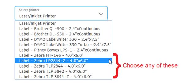 Setting the default printer to a Zebra or Zebra-like thermal printer