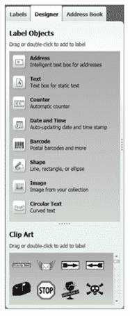 Options Under the Dymo Label™ Software's Designer Tab