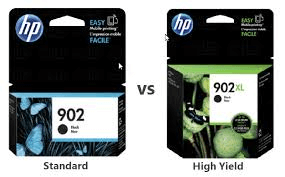 different packaging dimensions for standard and high yield HP printer inks
