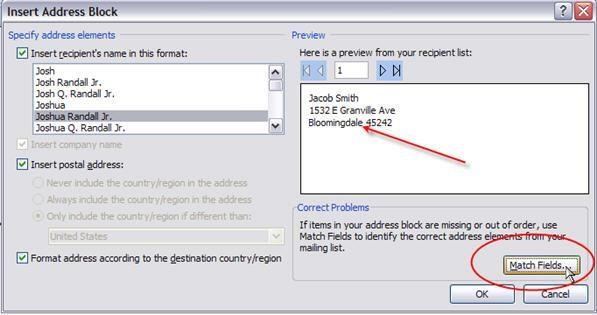 insert address block