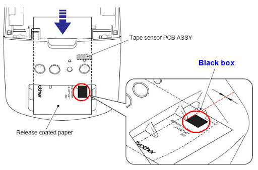 locating the black box marking of brother dk printer